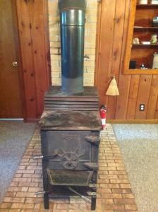 The wood burning stove.